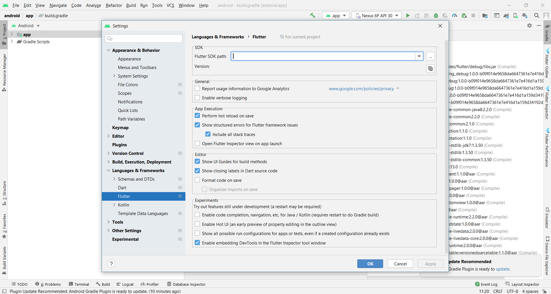 setting the flutter sdk path in Android Studio