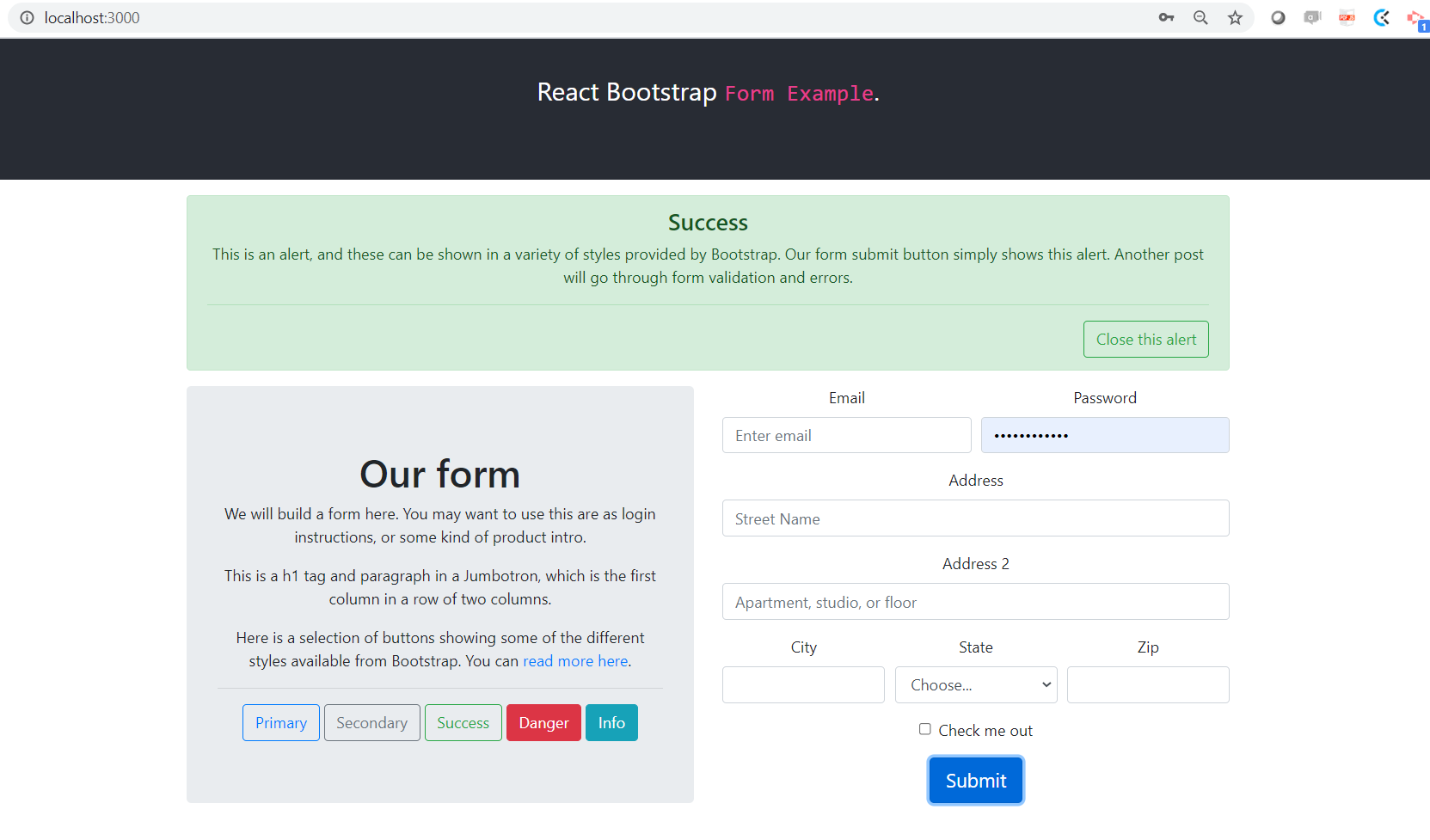 a react bootstrap form example