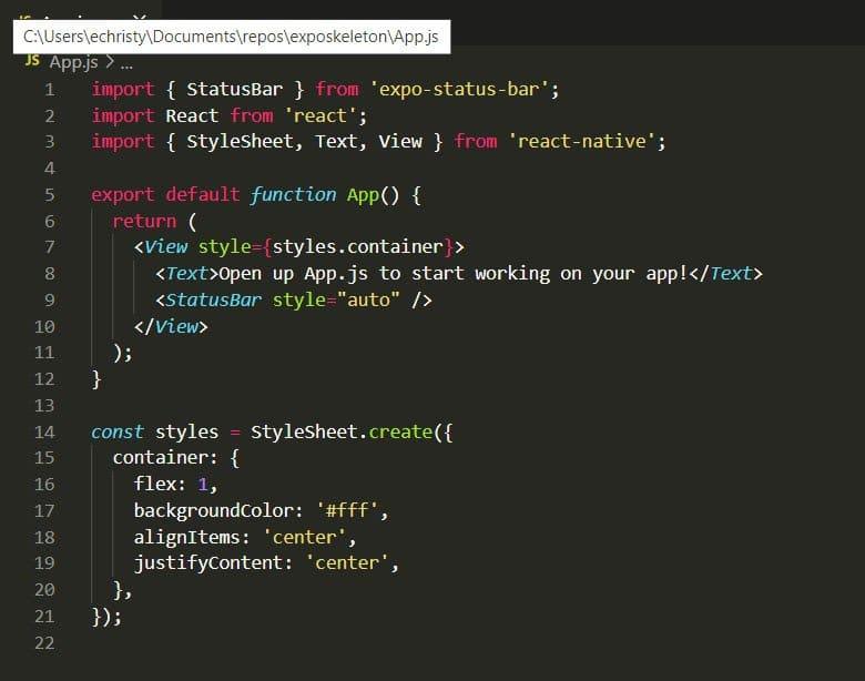 Expo app development App.js