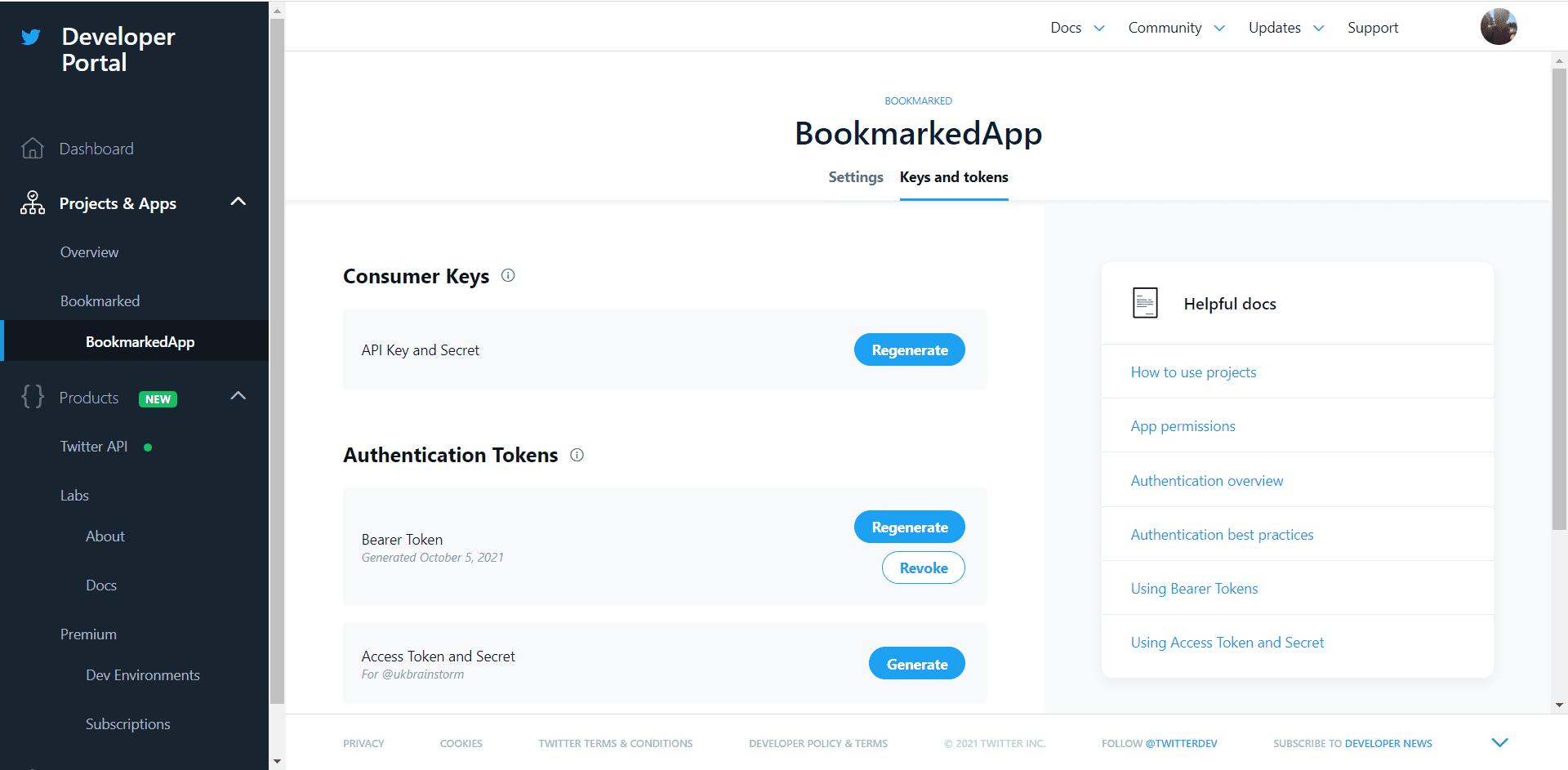 twitter api authentication token and api keys